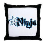 Blue Ninja Logo Throw Pillow