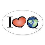 Planetpals I LOVE EARTH Desig Sticker (Oval 50 pk)