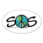 EARTH SOS design by Judith Go Sticker (Oval 10 pk)