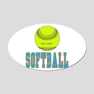 Girls Softball 22x14 Oval Wall Peel