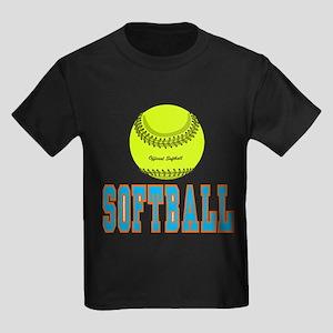Girls Softball Kids Dark T-Shirt