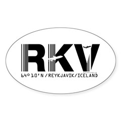 Reykjavik Iceland Airport Code RKV Oval Decal