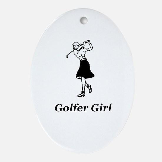 """Golfer Girl"" Oval Ornament"