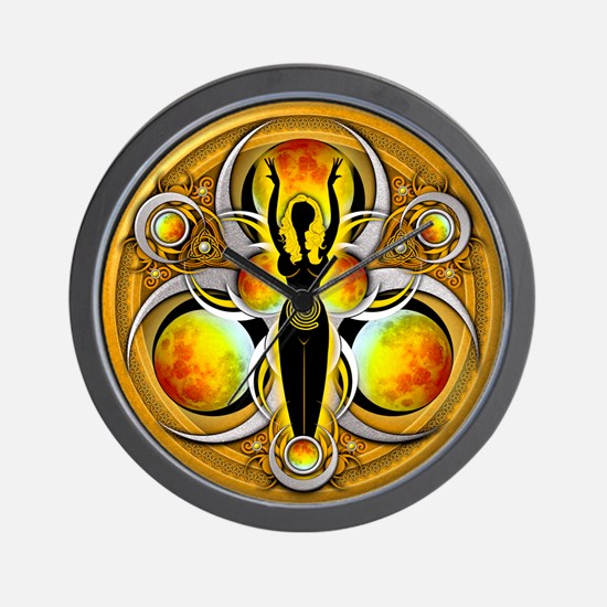 Goddess of the Yellow Moon Wall Clock