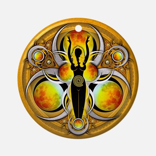 Goddess of the Yellow Moon Ornament (Round)