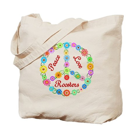 Peace Love Roosters Tote Bag