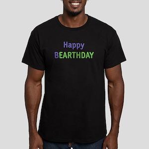 happy bEARTHDAY Men's Fitted T-Shirt (dark)