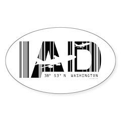 Washington airport code Dulles IAD Sticker (Oval)