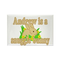 Andrew is a Snuggle Bunny Rectangle Magnet (100 pa