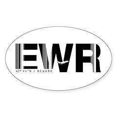 Newark Airport Code New Jersey EWR Sticker (Oval)