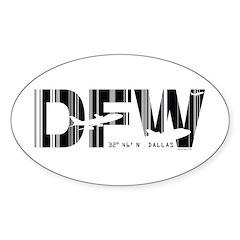 Dallas Airport Code Texas DFW Sticker (Oval)