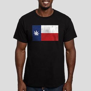 Vintage TX Leaf Men's Fitted T-Shirt (dark)