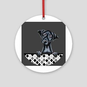 Black Lab Diamond Ornament (Round)