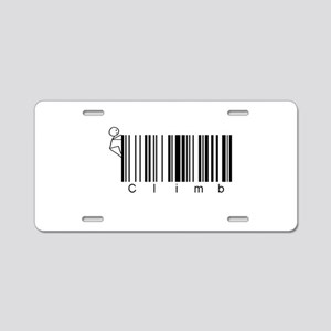 Bar Code Climb Aluminum License Plate