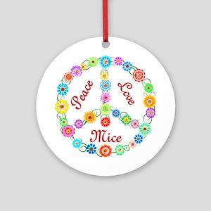 Peace Love Mice Ornament (Round)