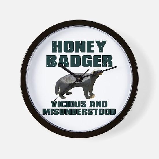 Honey Badger Vicious & Misunderstood Wall Clock