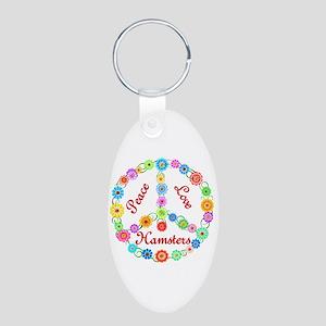 Peace Love Hamsters Aluminum Oval Keychain