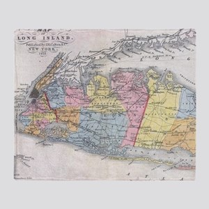 Vintage Map of Long Island New York Throw Blanket