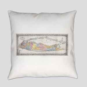 Vintage Map of Long Island New Yor Everyday Pillow