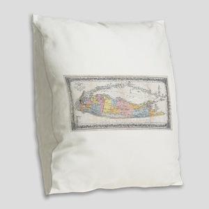 Vintage Map of Long Island New Burlap Throw Pillow