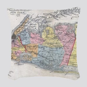 Vintage Map of Long Island New Woven Throw Pillow