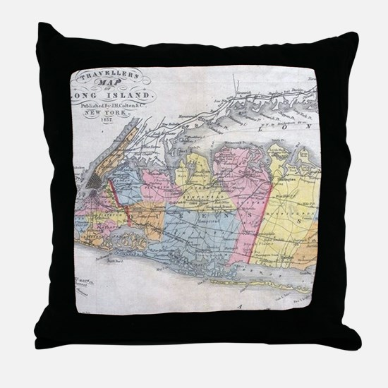 Vintage Map of Long Island New York ( Throw Pillow