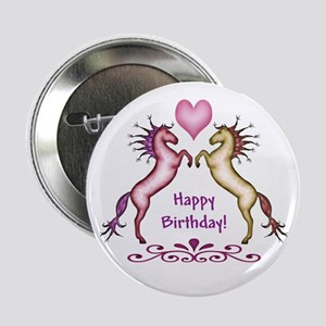 Happy Birthday Horses Button