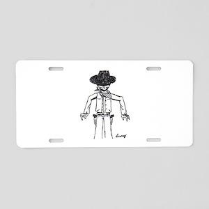 Cowboy Sketch Aluminum License Plate