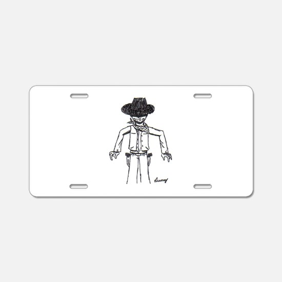 Cowboy Sketch Aluminum License Plate