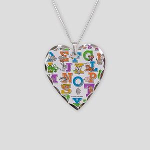 ABC Animals Necklace Heart Charm