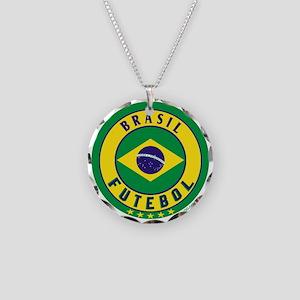 Brasil Futebol/Brazil Soccer Necklace Circle Charm