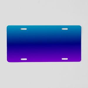 Aqua Ombre Aluminum License Plate