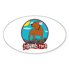 Tripawds Rock (Trouble) Sticker (Oval)