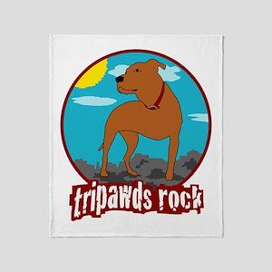 Tripawds Rock (Trouble) Throw Blanket