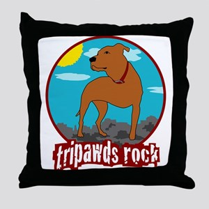 Tripawds Rock (Trouble) Throw Pillow