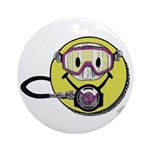 Diving Smiley - pink Round Ornament