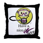 Diving Smiley - pink Throw Pillow