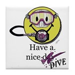 Diving Smiley - pink Tile Coaster