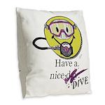 Diving Smiley - pink Burlap Throw Pillow