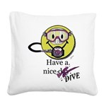 Diving Smiley - pink Square Canvas Pillow