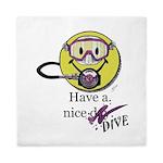 Diving Smiley - pink Queen Duvet