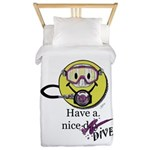Diving Smiley - pink Twin Duvet Cover
