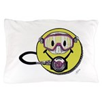 Diving Smiley - pink Pillow Case
