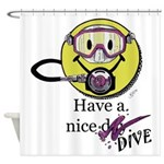 Diving Smiley - pink Shower Curtain