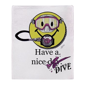 Diving Smiley - pink Throw Blanket