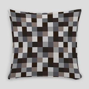 Black Pixelated Pattern   Gamer Everyday Pillow