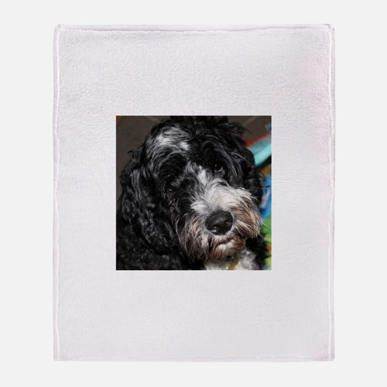 Cute Portuguese water dog Throw Blanket
