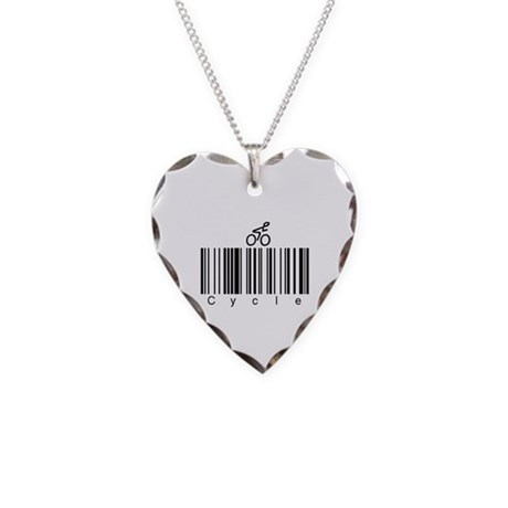 Bar Code Cycle Necklace Heart Charm