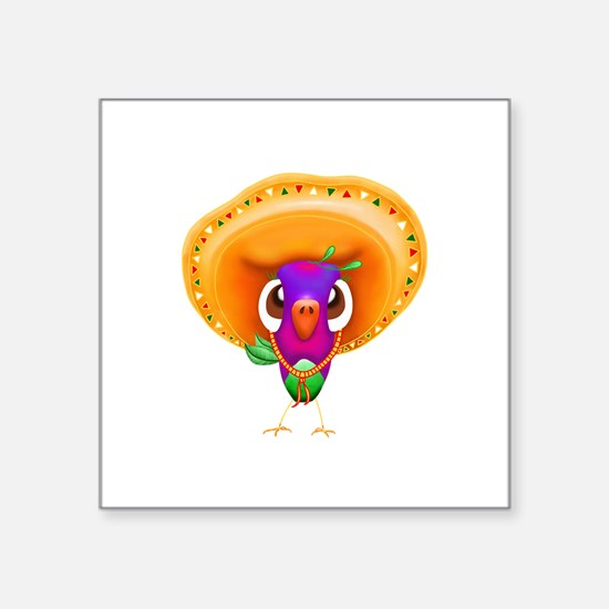 "Sombrero Birdie Square Sticker 3"" x 3"""