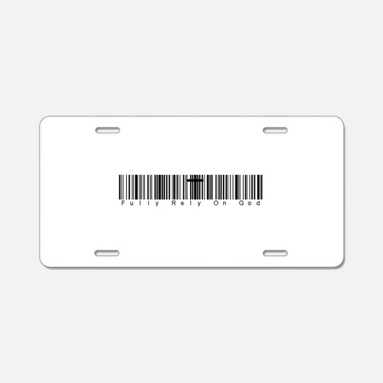 Bar Code Fully Rely On God Aluminum License Plate
